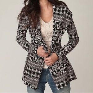 Free People Paisley Open Front Cotton Knit Jacket Blazer Size Small